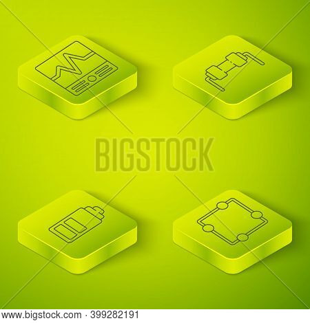 Set Isometric Resistor Electricity, Battery Charge Level Indicator, Electric Circuit Scheme And Elec