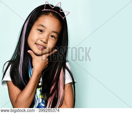 Close Up Stylish Portrait Of Asian Brunette Girl In Crown Hoop And With Colored Strands In Hair On B