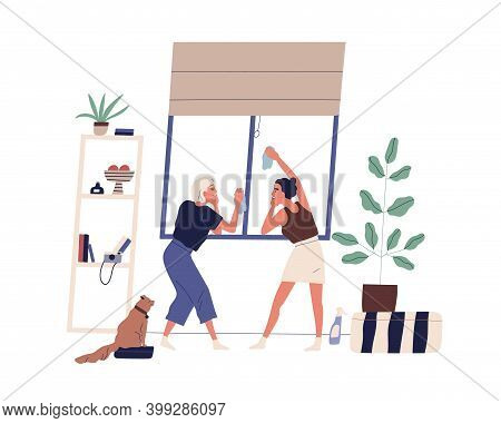 Women Doing Housework Together. Scene Of Couple Daily Routine, Household Chores, Cleanup And Domesti