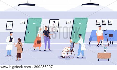 Doctors And Patients At Clinic. People With Nurses In Hospital Hall. Characters Talking To Specialis