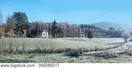 Scenic Rural Taunus Landscape In Hoar Frost, Germany