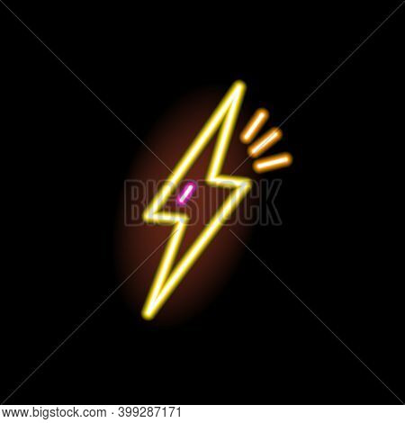Neon Sign Of Lightning Glowing On Black Background. Fluorescent Stylish Signboard. Decorative Illumi