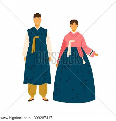 Korean Couple Wearing Traditional Costumes. Female Character In Decorated National Dress Hanbok. Man