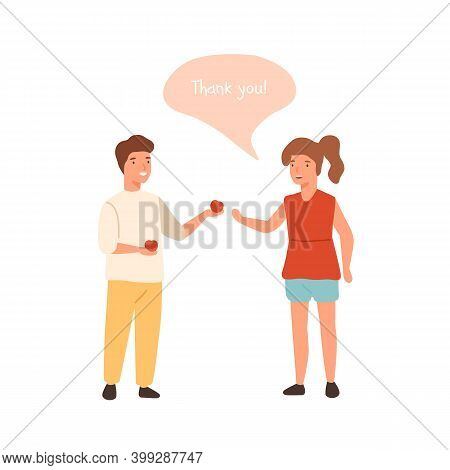 Generous Boy Share Apple With Girl. Polite Child Thanks Another Kid. Scene Of Politeness, Generosity