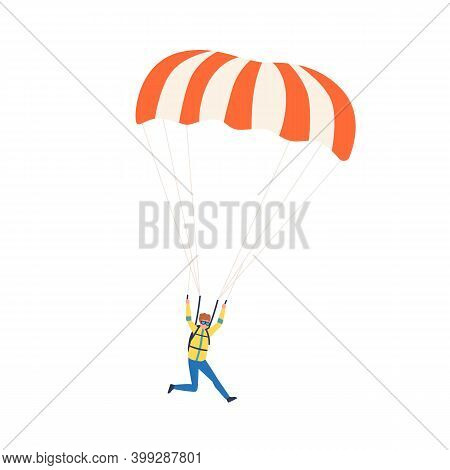 Young Professional Parachutist Soaring In The Sky. Paraglider Jumping With Parachute. Scene Of Extre