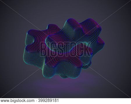 3d Gears Made Of Neon Dots On Gray Background. Abstract Vector Illustration Eps 10 Of Digital Futuri