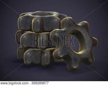 Stack Of 3d Golden Gears On Gray Background. Abstract Vector Illustration Of Digital Futuristic Cogw