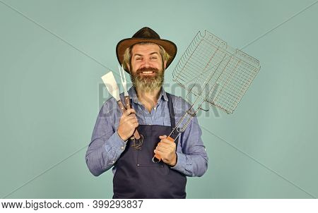 Cooking Steak. Cooking Utensils. Farmer With Bbq Equipment. Summer Picnic. Bbq American Tradition. C