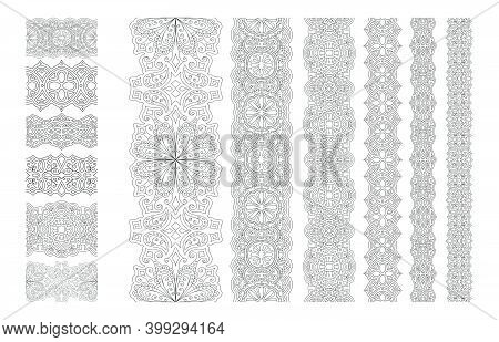 Beautiful Monochrome Illustration For Coloring Book With Abstract Seamless Eastern Paint Brushes Set