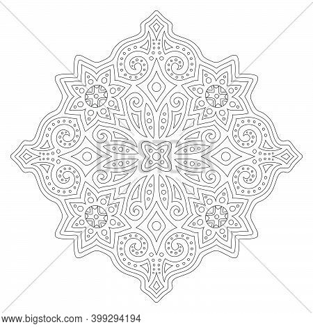 Beautiful Monochrome Illustration For Coloring Book Page With Linear Abstract Eastern Pattern Isolat