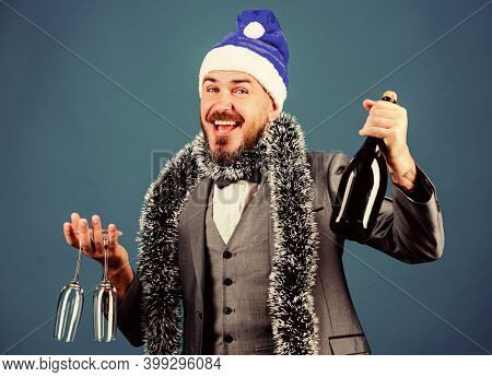 Join Office Party. Corporate Christmas Party. Man Bearded Hipster Wear Santa Hat Festive Accessory.
