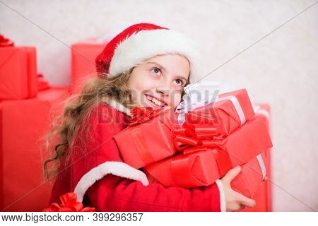 Santa Bring Her Gift. Dreams Come True. Winter Happiness Concept. Explore Christmas Gifts. Unpacking