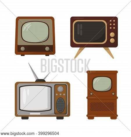 Set Of Retro Tv. Vintage Television Collection Isolated On White Background. Old Tv Models Vector Ic