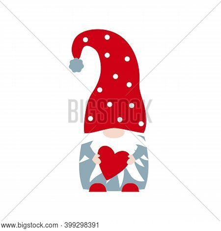 Vector Cute Nordic Gnome With Heart For Valentines Day Isolated On White Background. Gnome In Red Ha