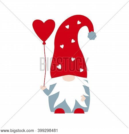 Vector Cute Nordic Gnome With Heart Balloon For Valentines Day Isolated On White Background. Gnome I