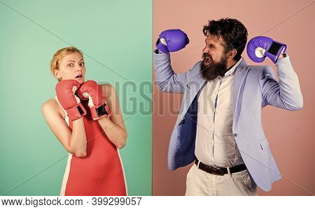 Couple Romantic Relationships. Boxers Fighting Gloves. Difficult Relationships. Couple In Love Compe
