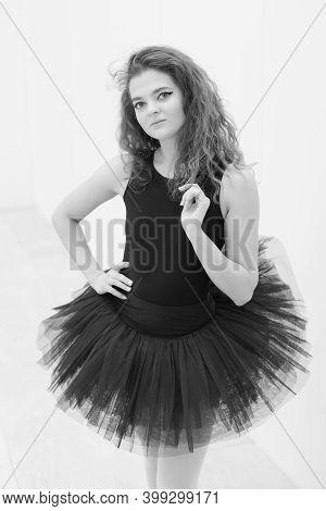 Black And White Photo Of Flexible Slender Young Girl Ballerina. Bw