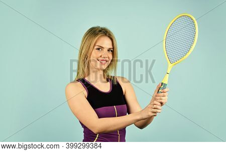 In Pursuit Of Good Health. Girl Tennis Player. Sport Competition. Woman Athlete Play Tennis Court. S