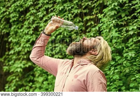 Drink Everything To The Last Drop. Healthcare And Water Balance Concept. Need To Quench Thirst. Refr