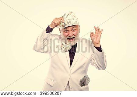 Savings System Life Insurance. Senior Man Pensioner Hold Cash Money. Earn Money Profit. Cash Securit