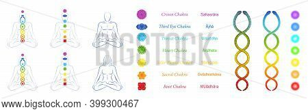 Chakras, Kundalini, Meditation Design Symbol Set For Webpages. Icon, Tools, Collection For Websites.