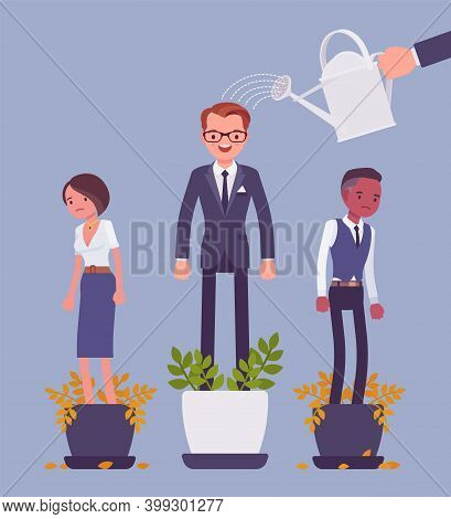 Growing Male Talent From Favorite Employee. Helping One Person Grow In Plant Pot, Watering To Suppor