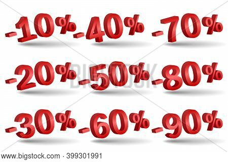 Discount Numbers 3d Vector. Red Sale Percentage Icon Set In 3d Style Isolated On White Background. 1
