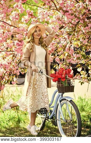 Leisure. Bike Ride Tours. Girl And Sakura Blossom. Excursion To Park. Cherry Tree Blooming. Spring S