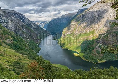 Aerial View Of A Beautiful Norwegian Fjord, The Sognefjord, Vertical.