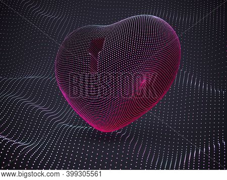 3d Red Heart With Keyhole On Sound Waves Background. Abstract Concept Of Online Dating And Virtual L
