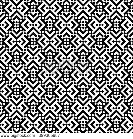 Seamless Pattern. Chevrons, Squares Ornament. Curves, Polygons Illustration. Geometric Background. F