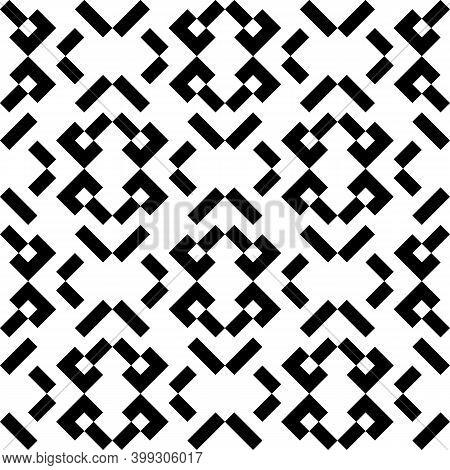 Seamless Vector. Strokes, Figures Motif. Rectangles, Shapes Ornament. Blocks, Forms Wallpaper. Polyg