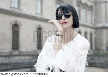 Bright Makeup Universal Accessory. Woman Fashionable Model Posing Outdoor. Girl Brunette Bob Hairsty