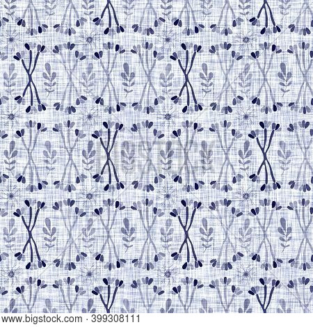 Indigo Blue Leaf Block Print Dyed Linen Texture Background. Seamless Woven Japanese Repeat Batik Pat