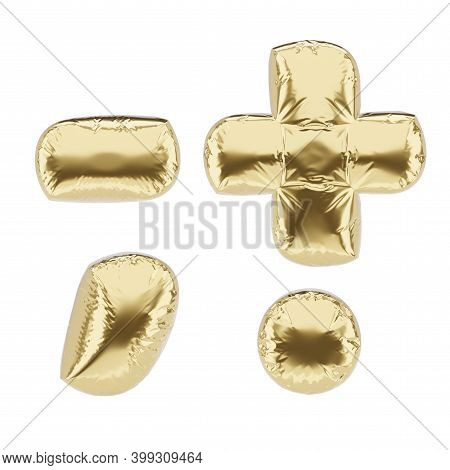 Punctuation Marks Made Of Golden Foil Inflatable Balloon Isolated On White Background. 3d Rendering
