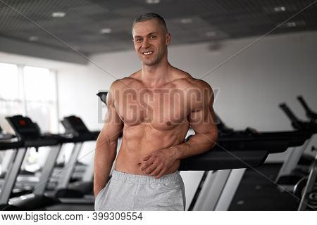 Muscular Athletic Bodybuilder Fitness Model Standing Gym Sport Fitness Healthy Lifestyle Concept Cau