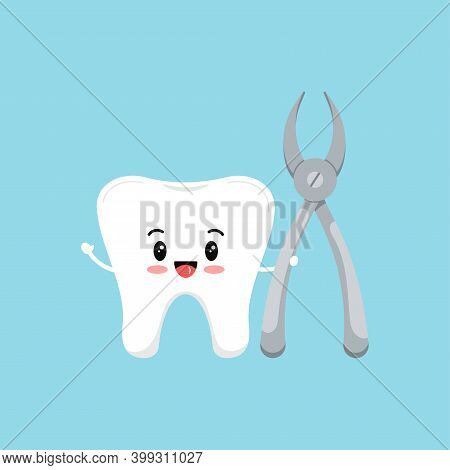 Cute Tooth With Dental Nipper Tool Icon Isolated On Blue Background. White Teeth Character With Stom