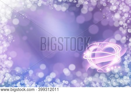Abstract Holiday Background, Beautiful Shiny Lights, Glowing Magic Bokeh. Valentine's Day Background