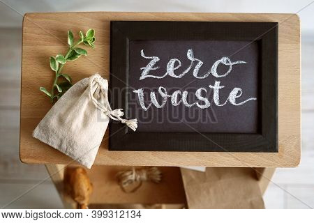 Eco-bag, Green Twig And The Inscription Zero Waste. Composition On The Theme Zero Waste. Chalk Lette