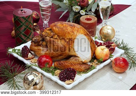 Carving Christmas Pomegranate Glazed Roasted Turkey