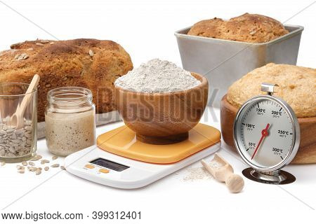 Homemade Sourdough Bread, Natural Leaven For Bread In A Glass Jar, Wooden Bowl Of Dough, Kitchen Sca