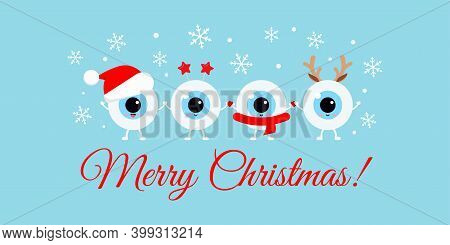 Cute Eyeball With Xmas Accessories On Optician Merry Christmas Greeting Card. White Happy Winter Eye