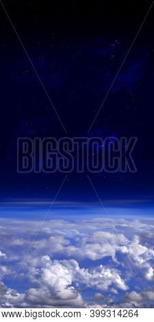 View above the clouds. Vertical panorama of earth atmosphere, dark blue space and stars