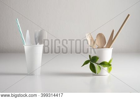 Dining Utensils: Spoon, Fork, Knife, Plastic Bag, Plastic Cup, Straws. Wooden Vs Plastic Shown Throu