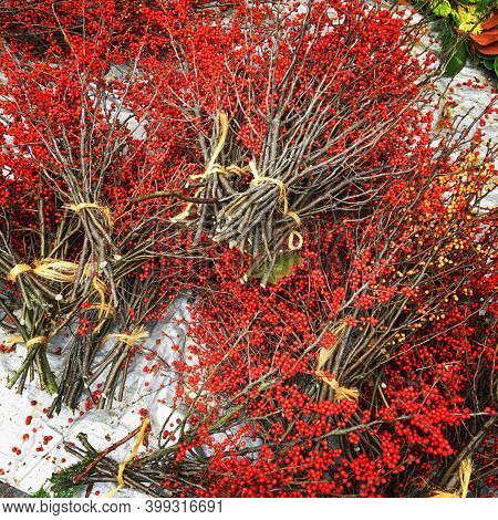 Colorful Red Holiday Twig Arrangements For Christmas
