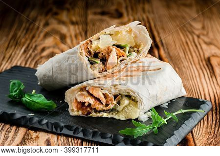 Shawarma Sandwich, Doner Kebab, Chicken Shawarma Gyro Fresh Roll Of Lavash Pita Bread. Traditional M