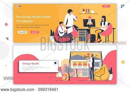 Design Studio Landing Pages Set. Ui Ux Design, Creative Team Workflow Corporate Website. Flat Vector