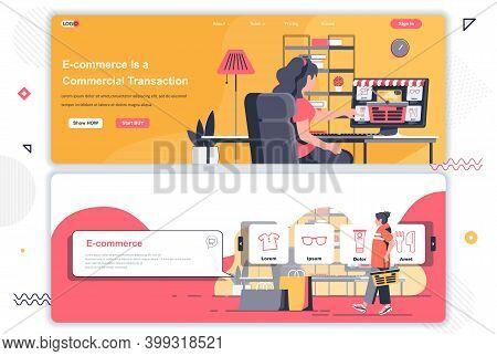 E-commerce Landing Pages Set. Online Shopping, Internet Marketplace Corporate Website. Flat Vector I
