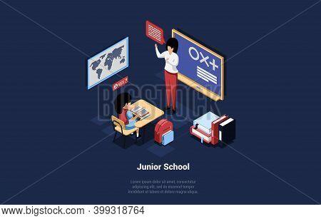 Junior School Student Sitting At Desk Listening To Female Teacher With Speech Bubble. Class Interior