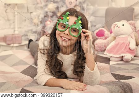 It Is The Season To Sparkle. Little Girl Smile With Party Look. Happy Child Celebrate Christmas And